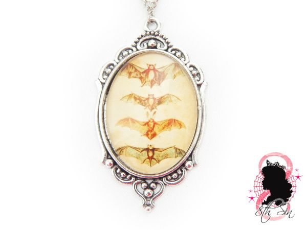 "2"" Antique Silver Bat Cameo Necklace"